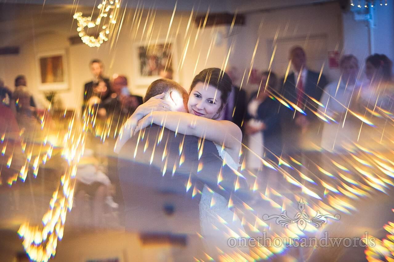 Smiling bride during first dance at Italian Villa Wedding