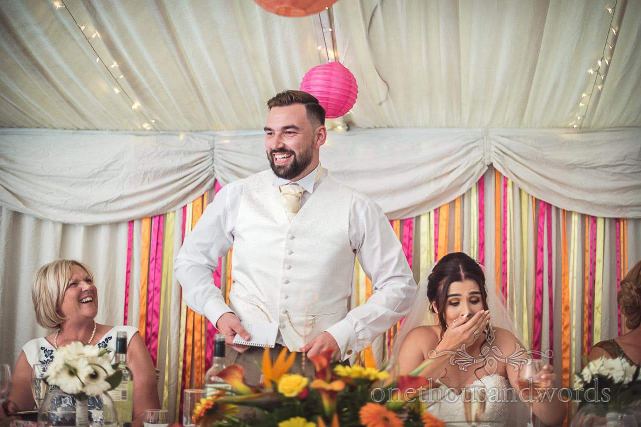 The groom delivers his speech at The Old Vicarage Wedding Photographs