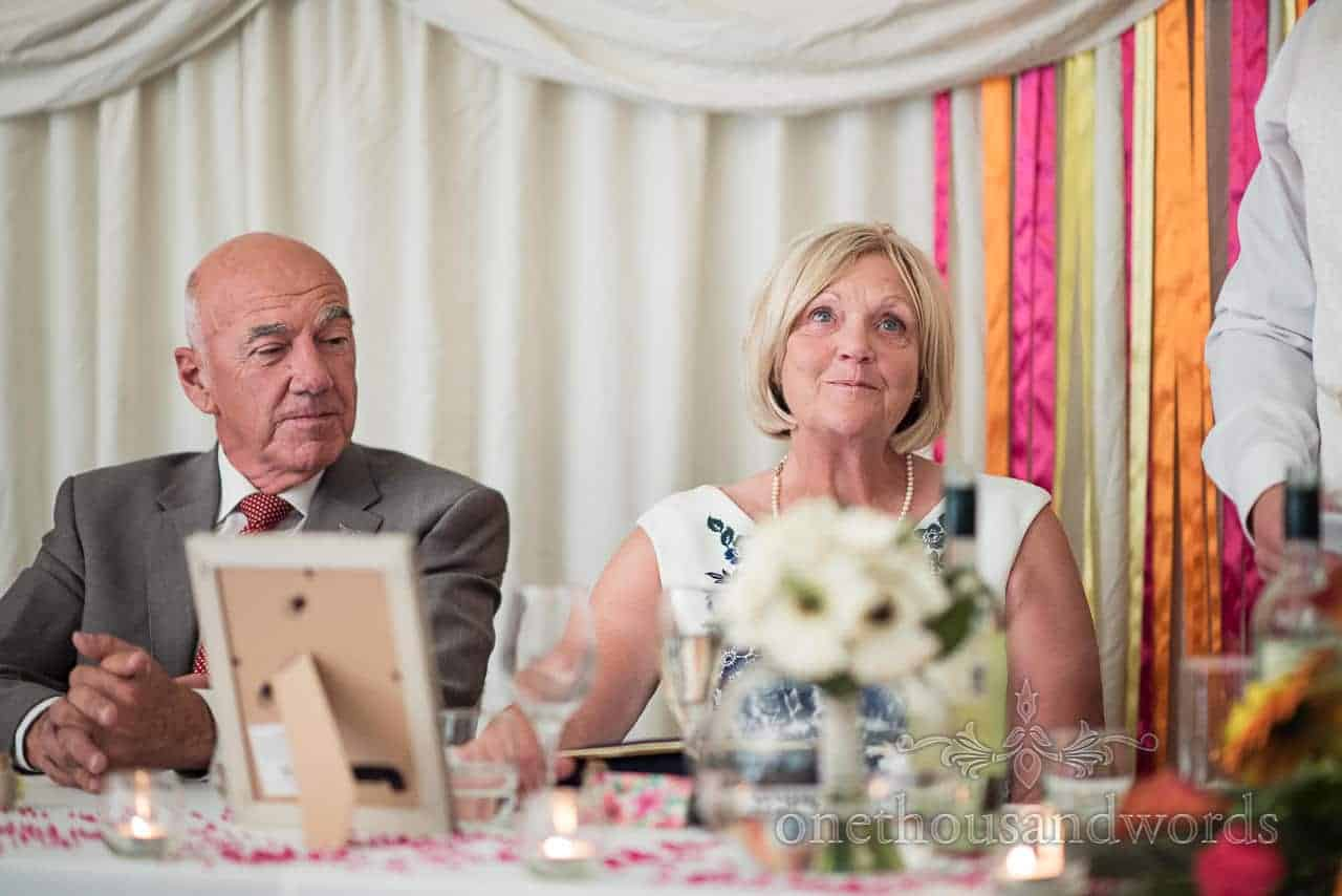 The grooms parents during speeches at The Old Vicarage Wedding