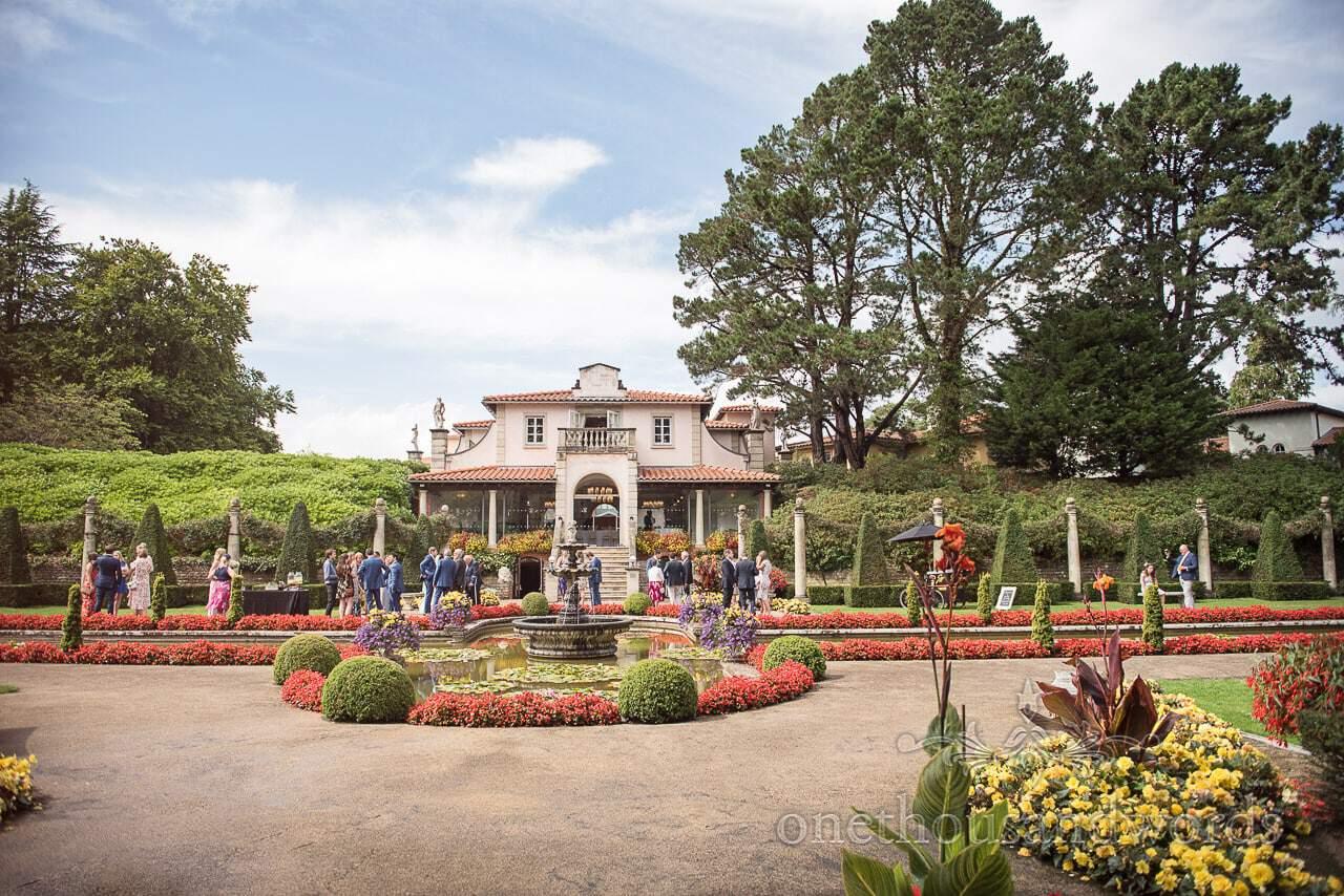 The Italian Villa Wedding venue with Italian gardens in flower at summer wedding