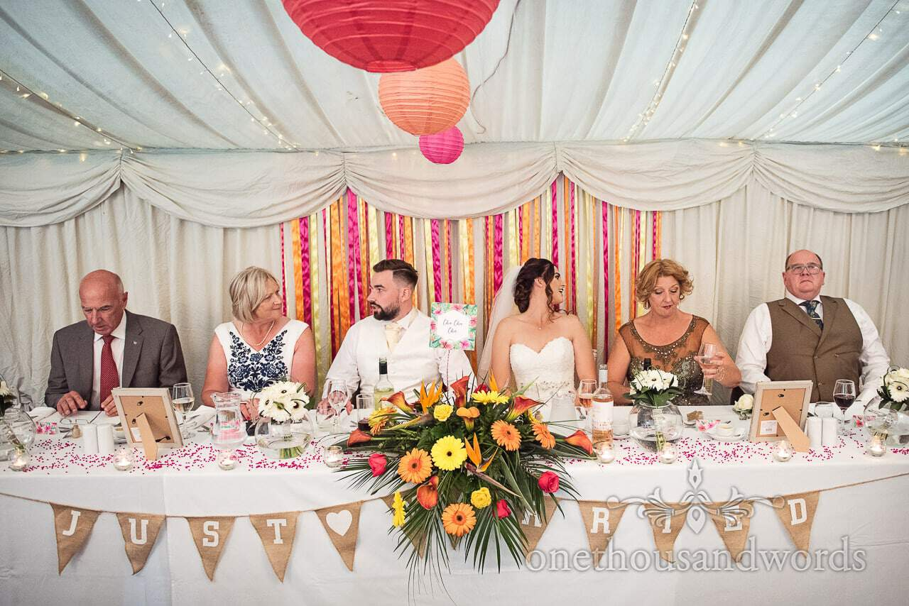 The whole top table are seated at The Old Vicarage Wedding Photographs