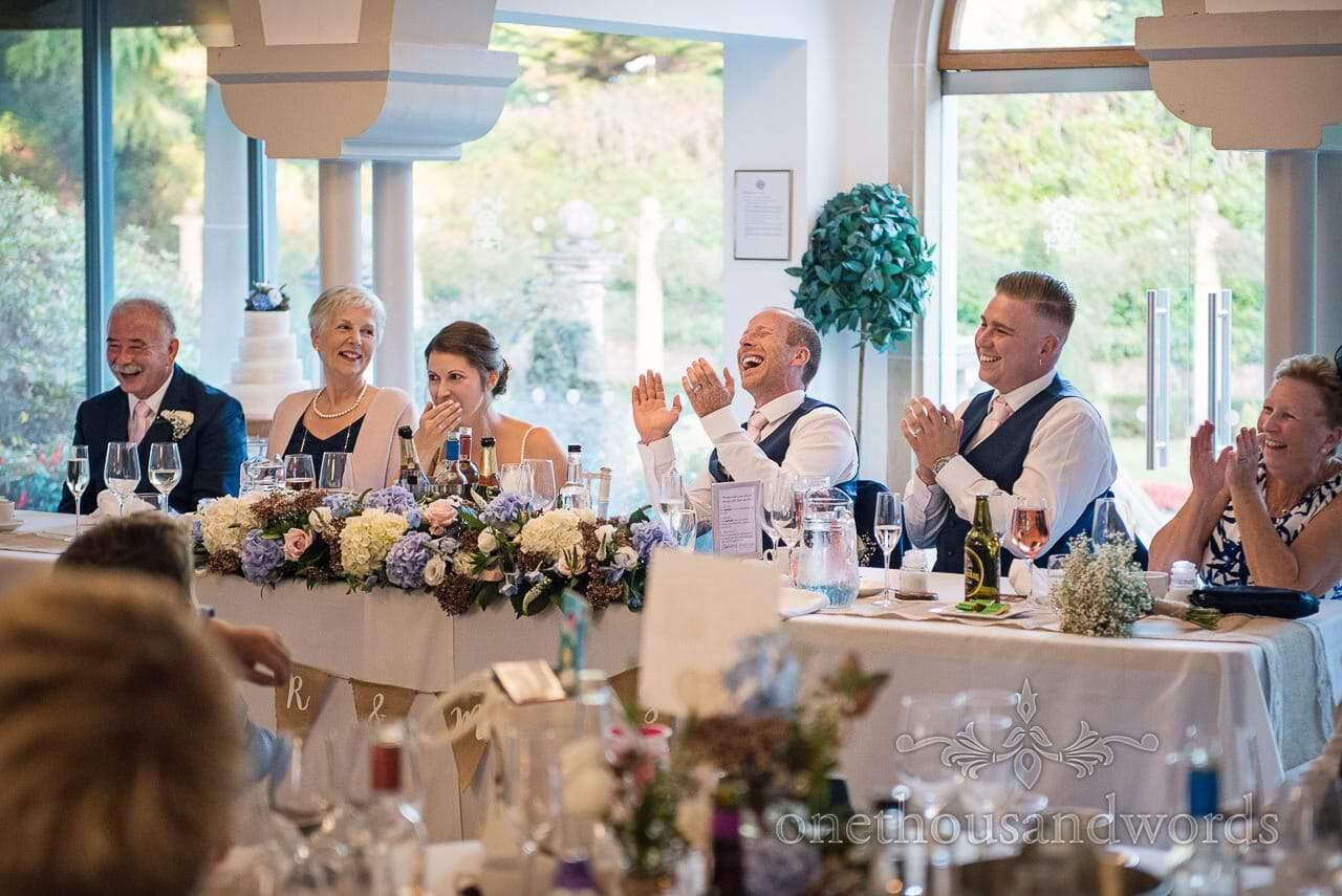 Top table applause during wedding breakfast at Italian Villa Wedding