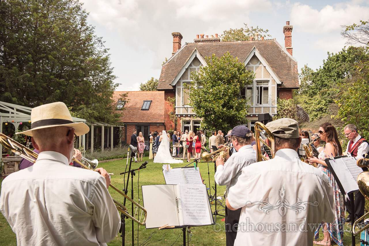 Twenty piece swing band in garden at The Old Vicarage Wedding Photographs