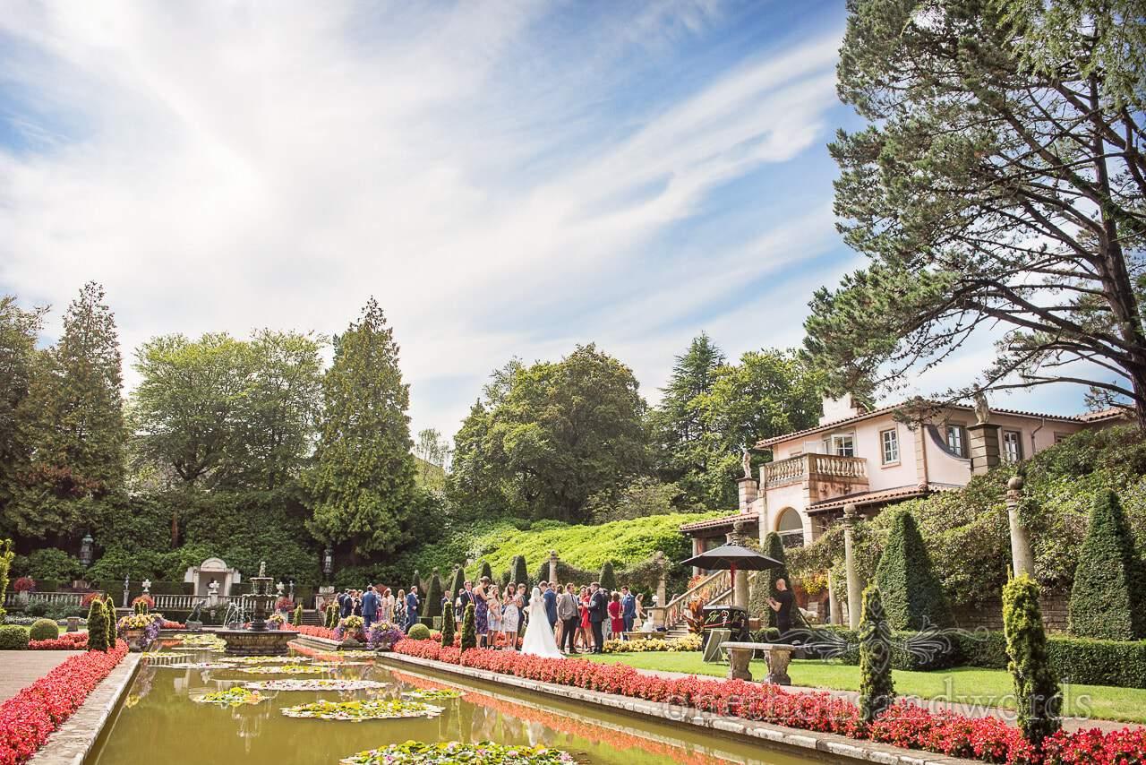 Wedding drinks reception in Italian Gardens at The Italian Villa Wedding Venue, Dorset