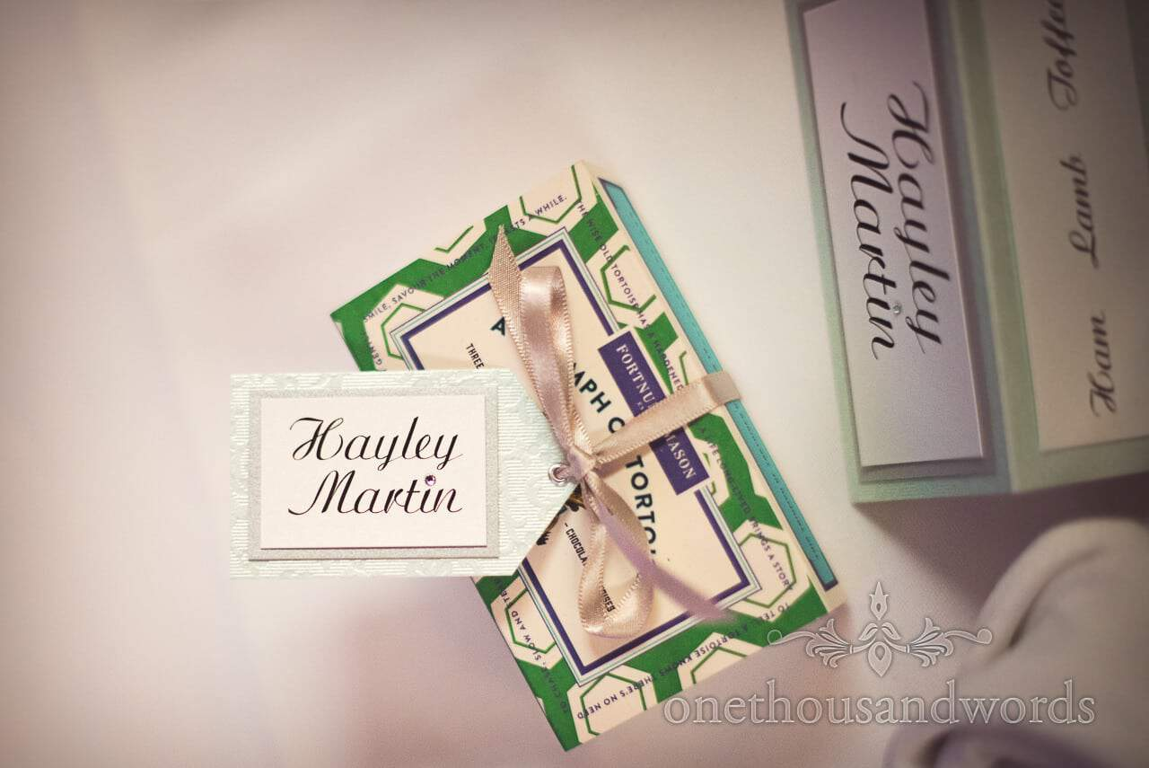 Wedding favor table gift at Canford School Wedding