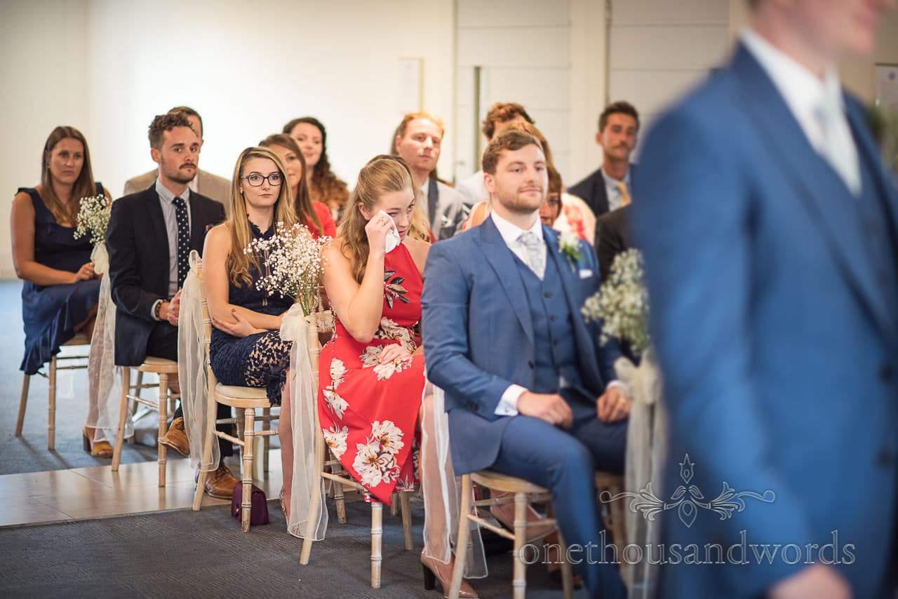 Wedding guests cry during wedding ceremony at Italian Villa Wedding venue