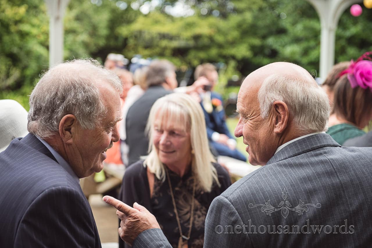 Wedding guests in the garden at the Old Vicarage