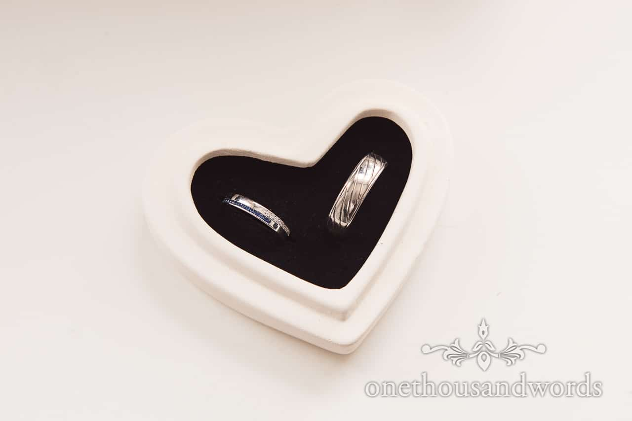 Wedding rings in a heart shaped box from Old Vicarage Wedding