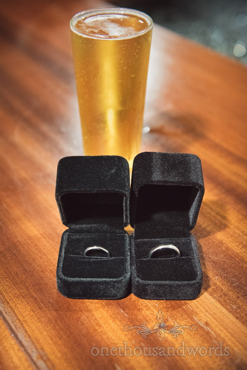 Wedding rings with small glass of dutch courage at Italian Villa Wedding