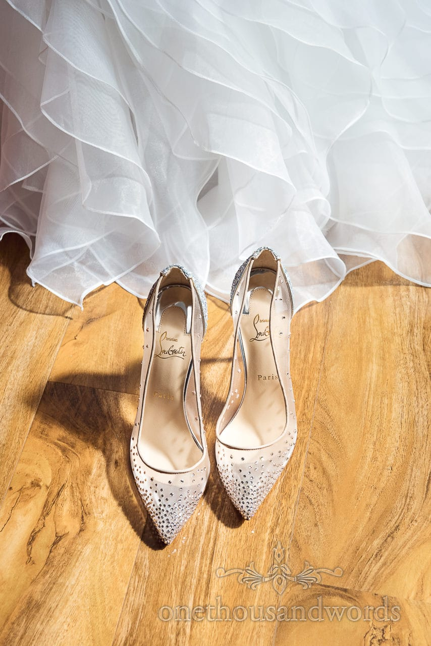 Wedding shoes with dress on morning of Old Vicarage Wedding
