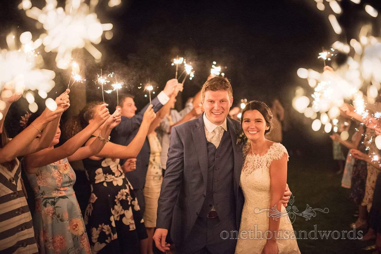 Wedding Sparkler photograph at The Italian Villa Wedding Venue in Poole