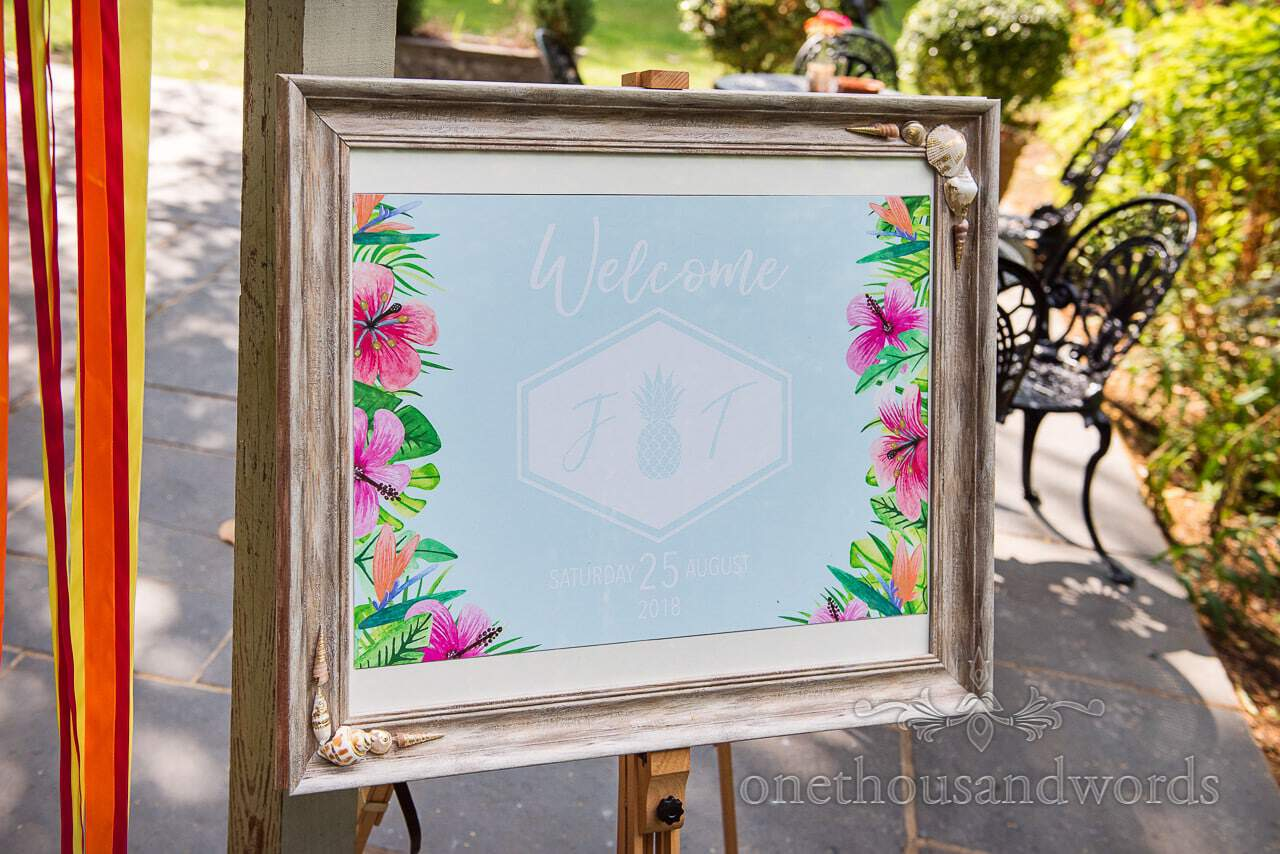 Welcome frame at The Old Vicarage Wedding Photographs