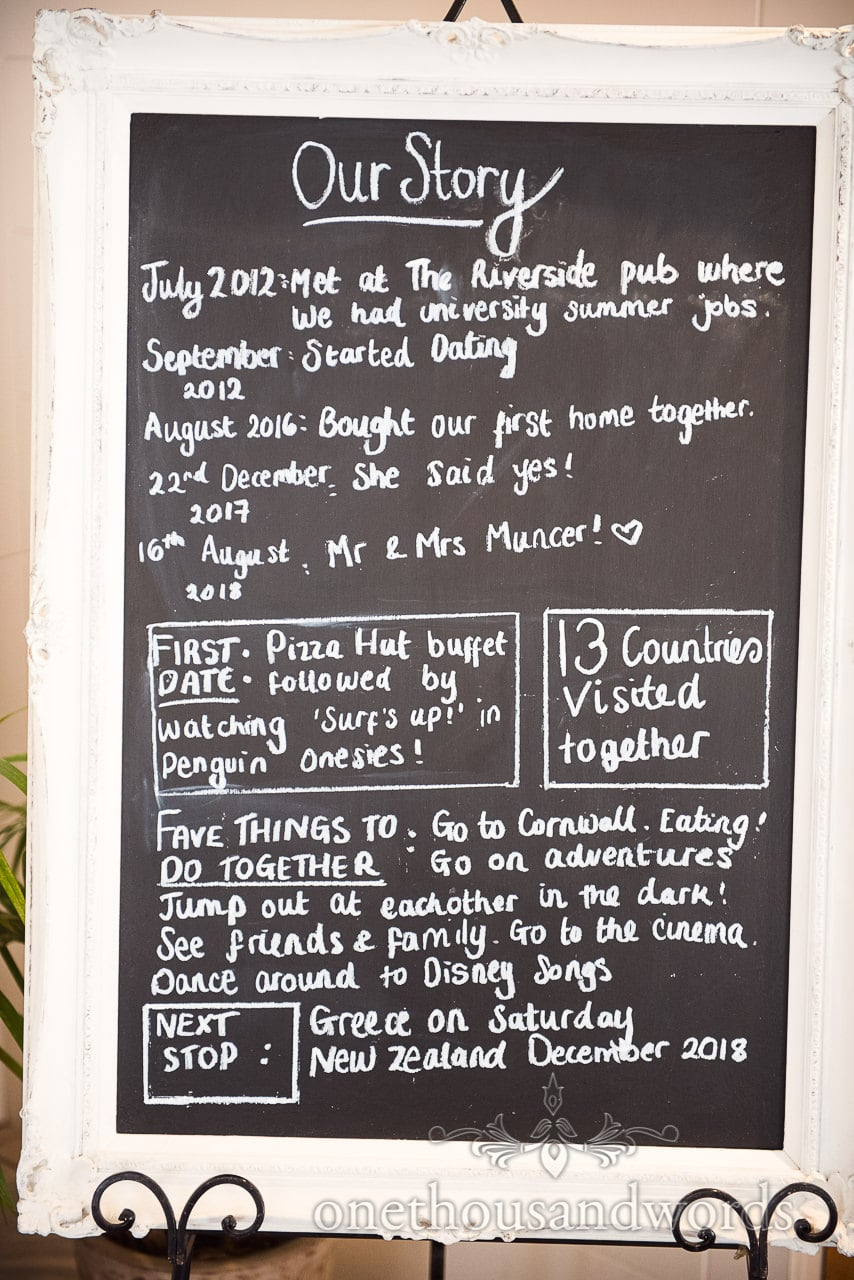 White framed slate board with Bride and grooms love story for wedding guests