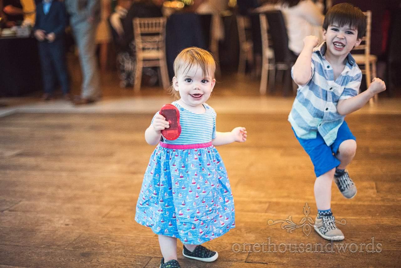 Young wedding guests on dance floor at Italian Villa Wedding