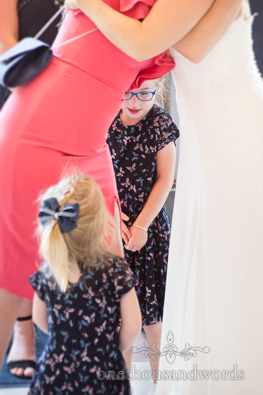 Young wedding guests in matching dresses at Italian Villa Wedding