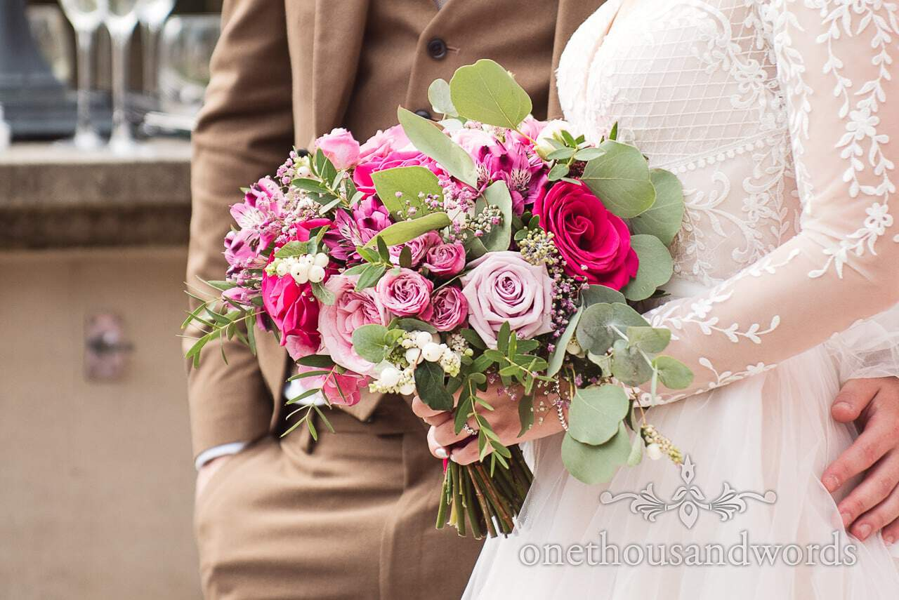 Beautiful bridal bouquet with different shades of pink from Italian Villa wedding