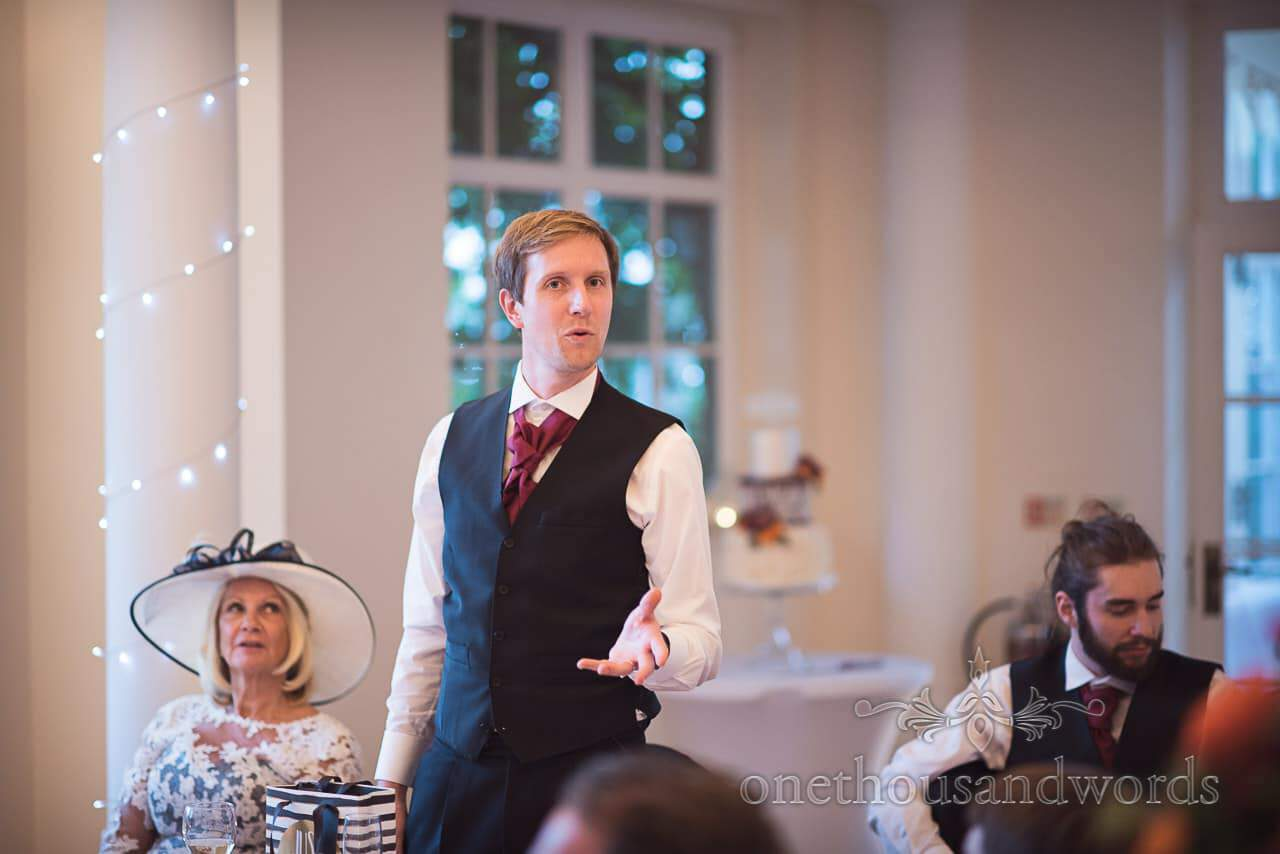 Best man's speech at Hethfelton House Wedding venue in Dorset