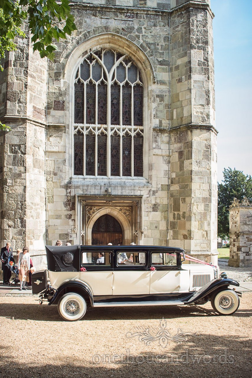 Branford Classic Landaulette wedding car outside Wimborne Minster
