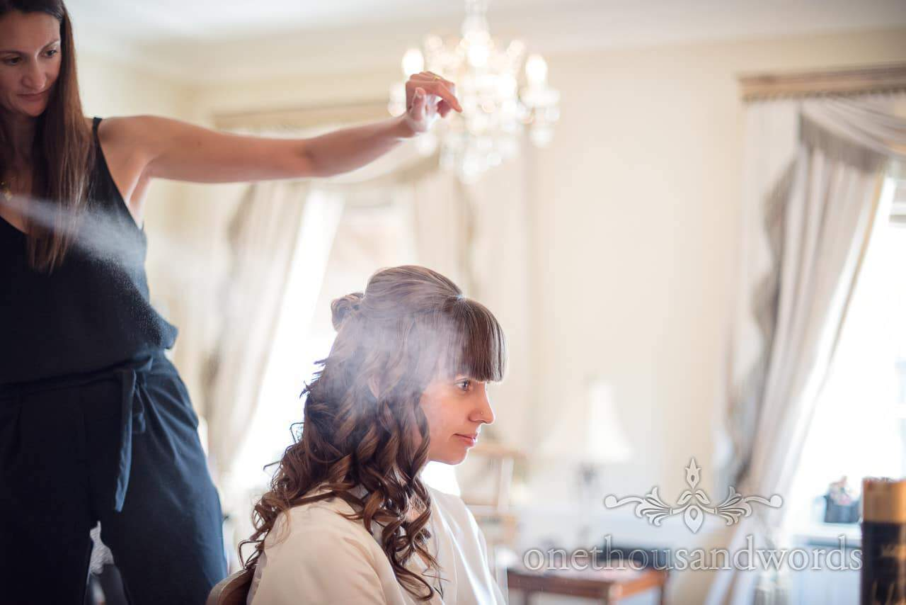 Bride disappears into cloud of hairspray at Hethfelton House bridal prep