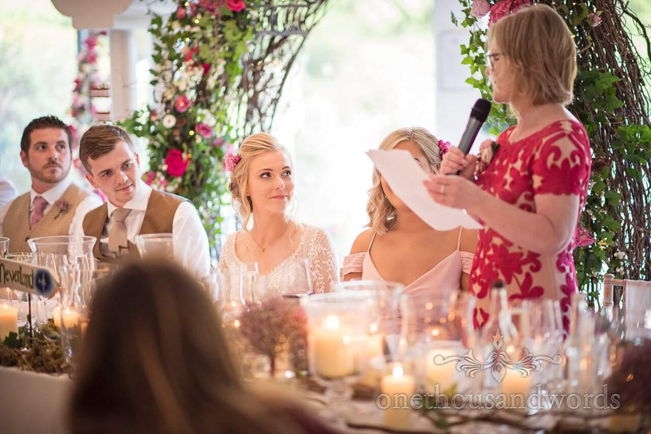 Bride reaction during mothers speech at Italian Villa wedding