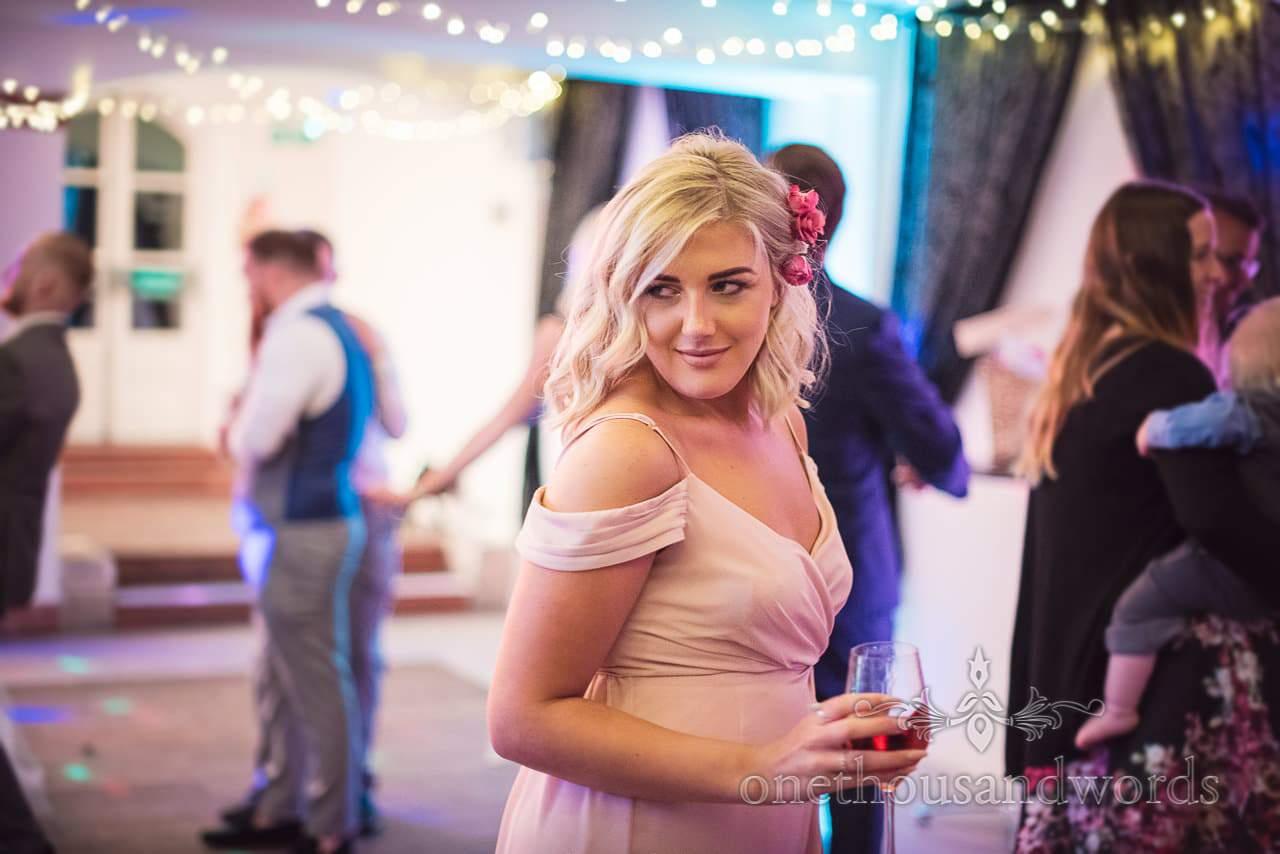 Bridesmaid on the dance floor at Italian Villa Documentary wedding photos