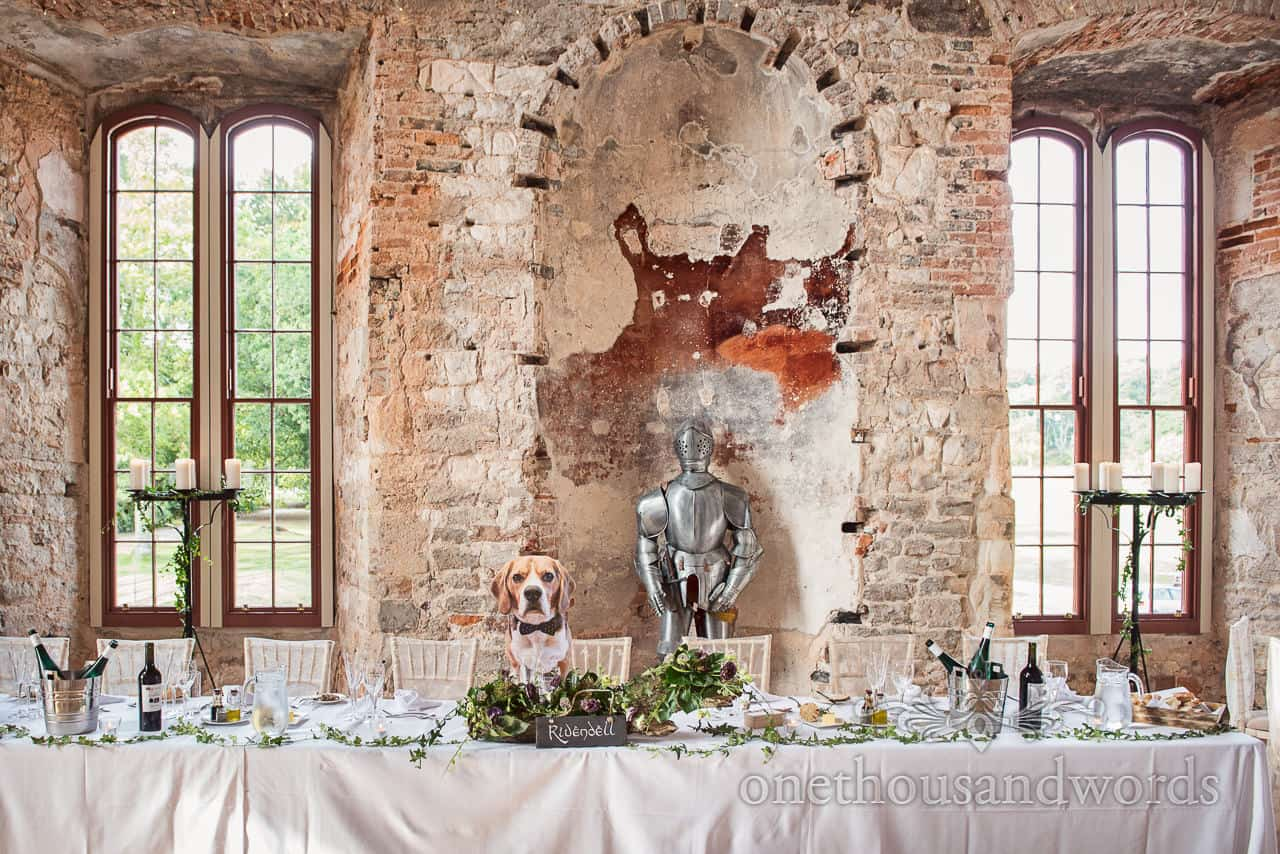 Buddy the beagle at top table from woodland Lulworth Castle wedding photos