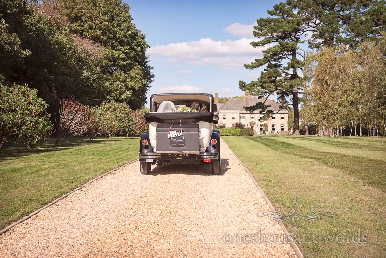 Classical wedding car drive to Hethfelton House Wedding venue
