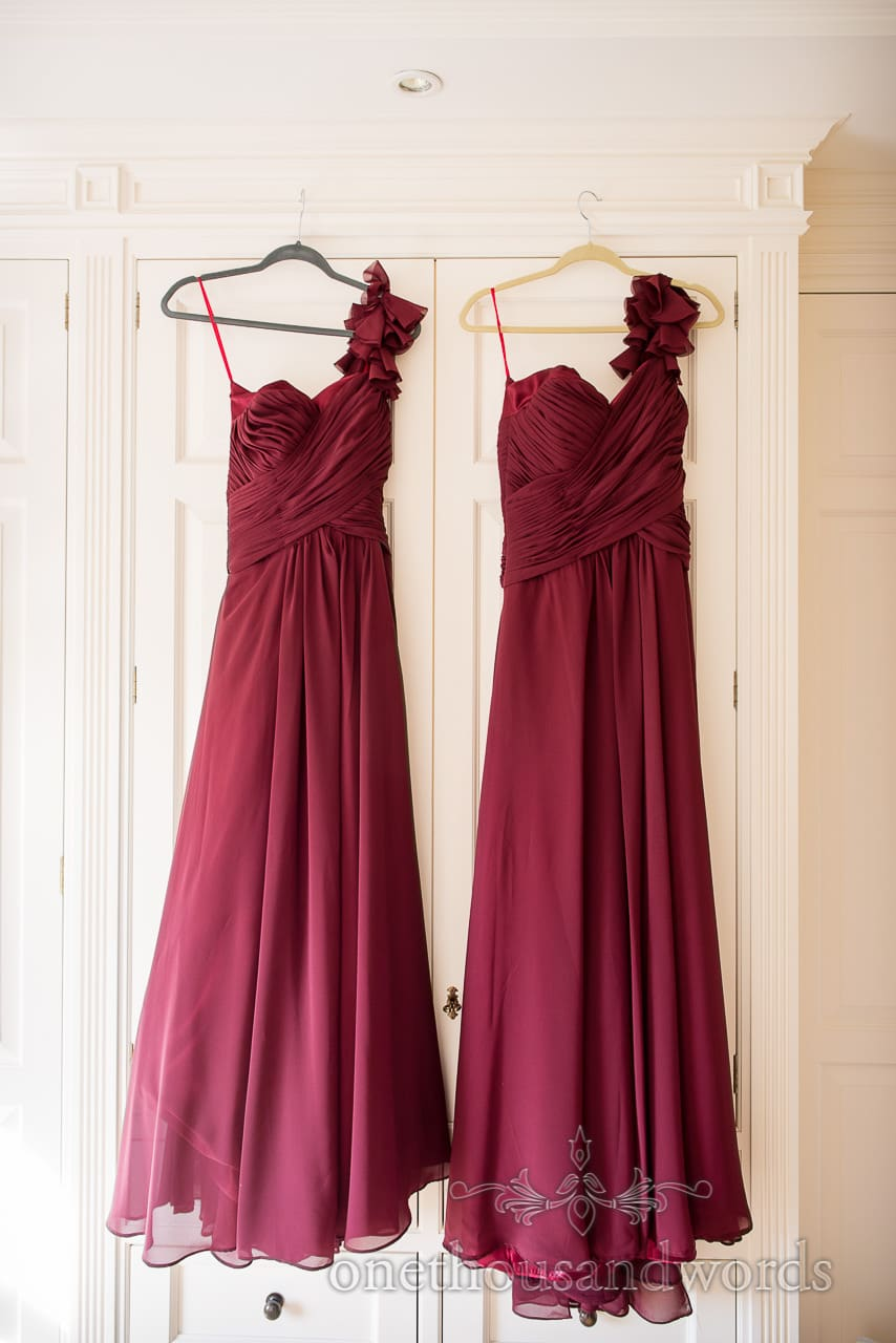 Custom made deep red Courtesan Boutique bridesmaid's dresses