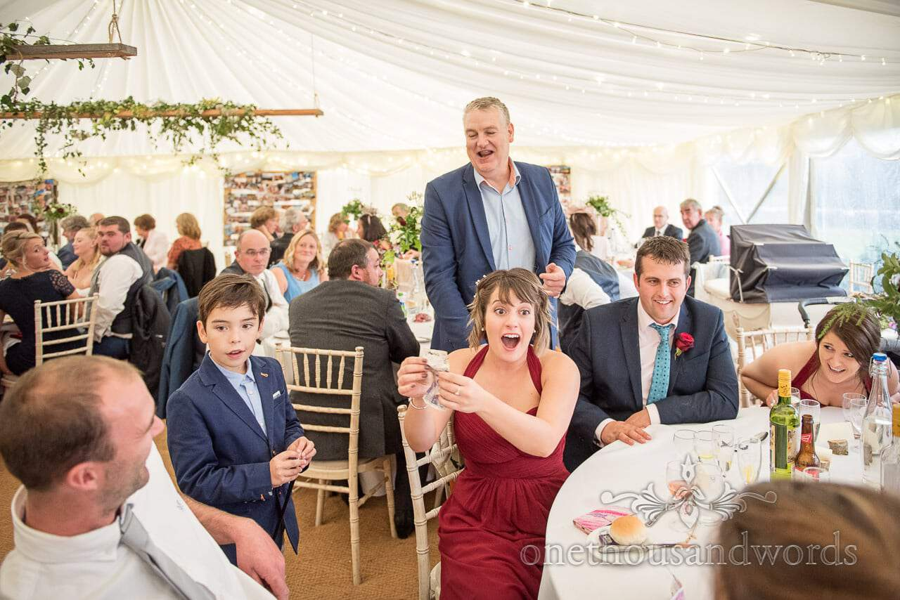 David Willmott wedding magician wows guests in wedding marquee