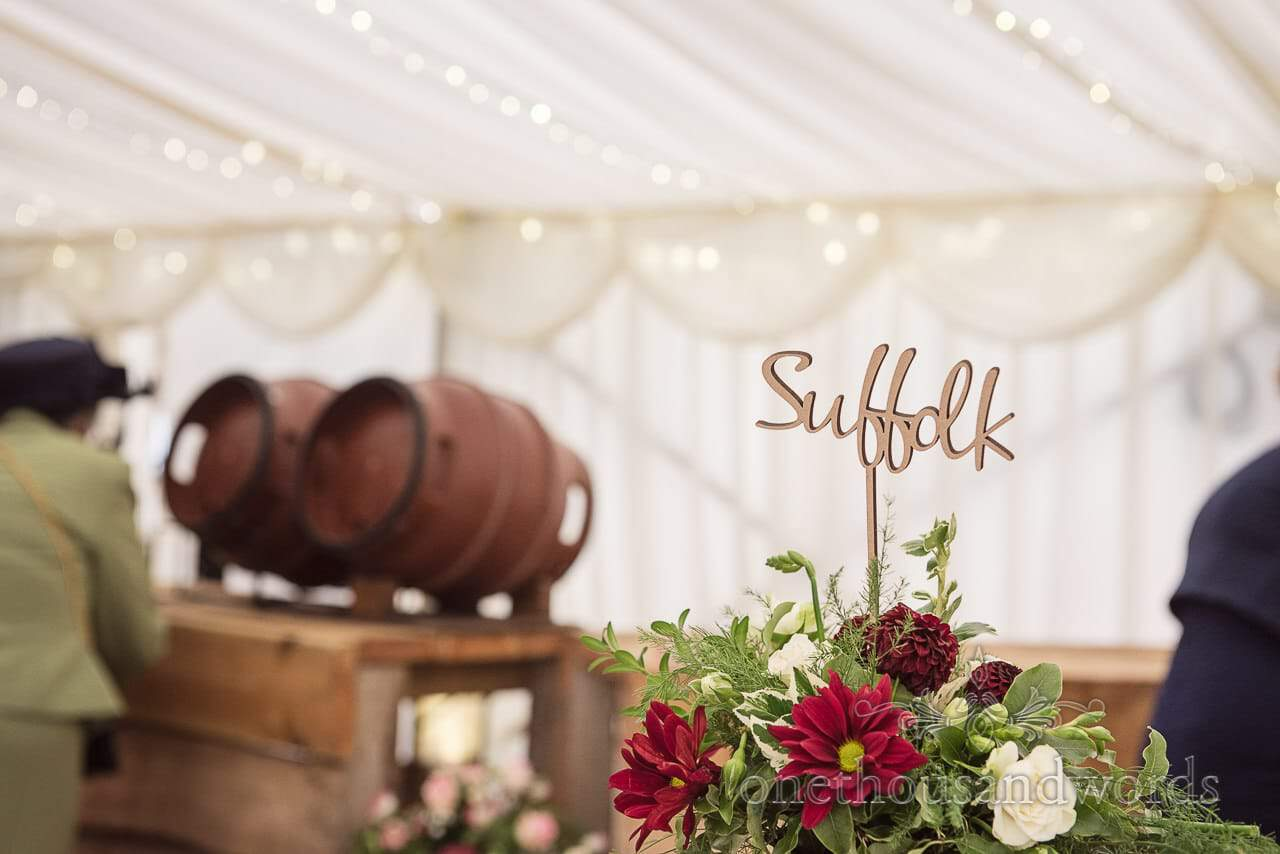 Farm marquee wedding photos of farming themed table names