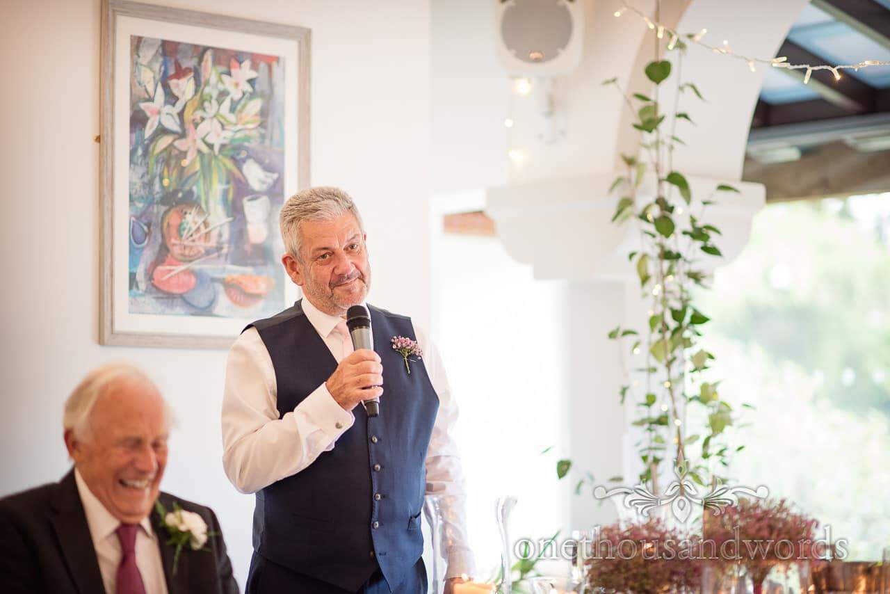 Father of the groom gives speech at Italian Villa wedding