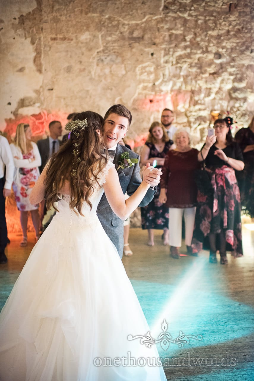 First dance in front of wedding guests at Lulworth Castle Wedding venue