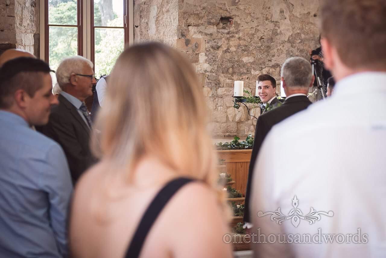 First look at woodland Lulworth Castle wedding