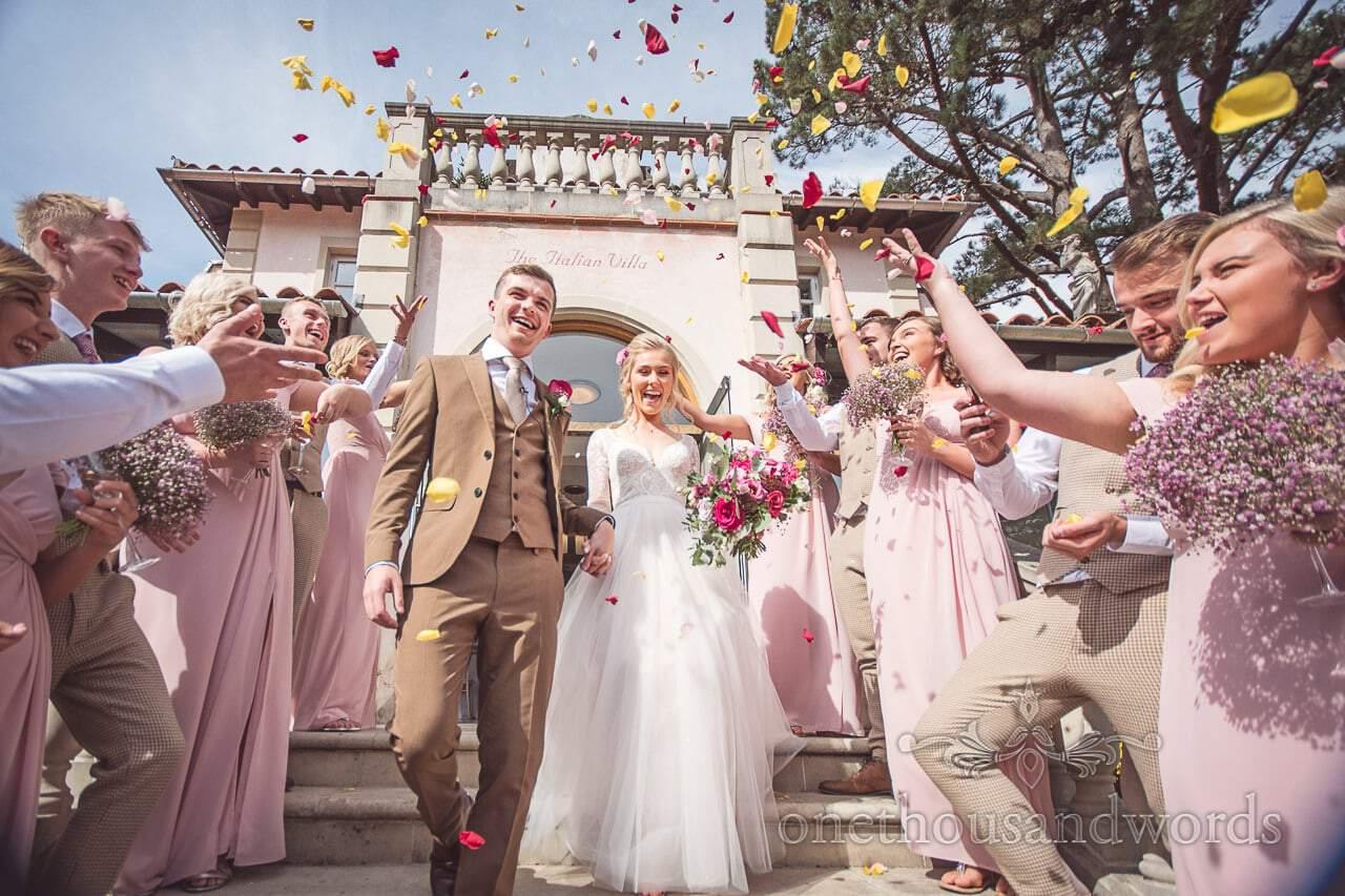 Flower petal confetti at the Italian Villa Documentary Wedding Photos