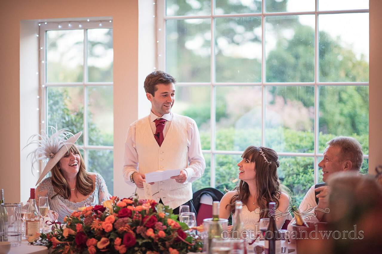 Groom makes wedding speech at Hethfelton House Wedding venue