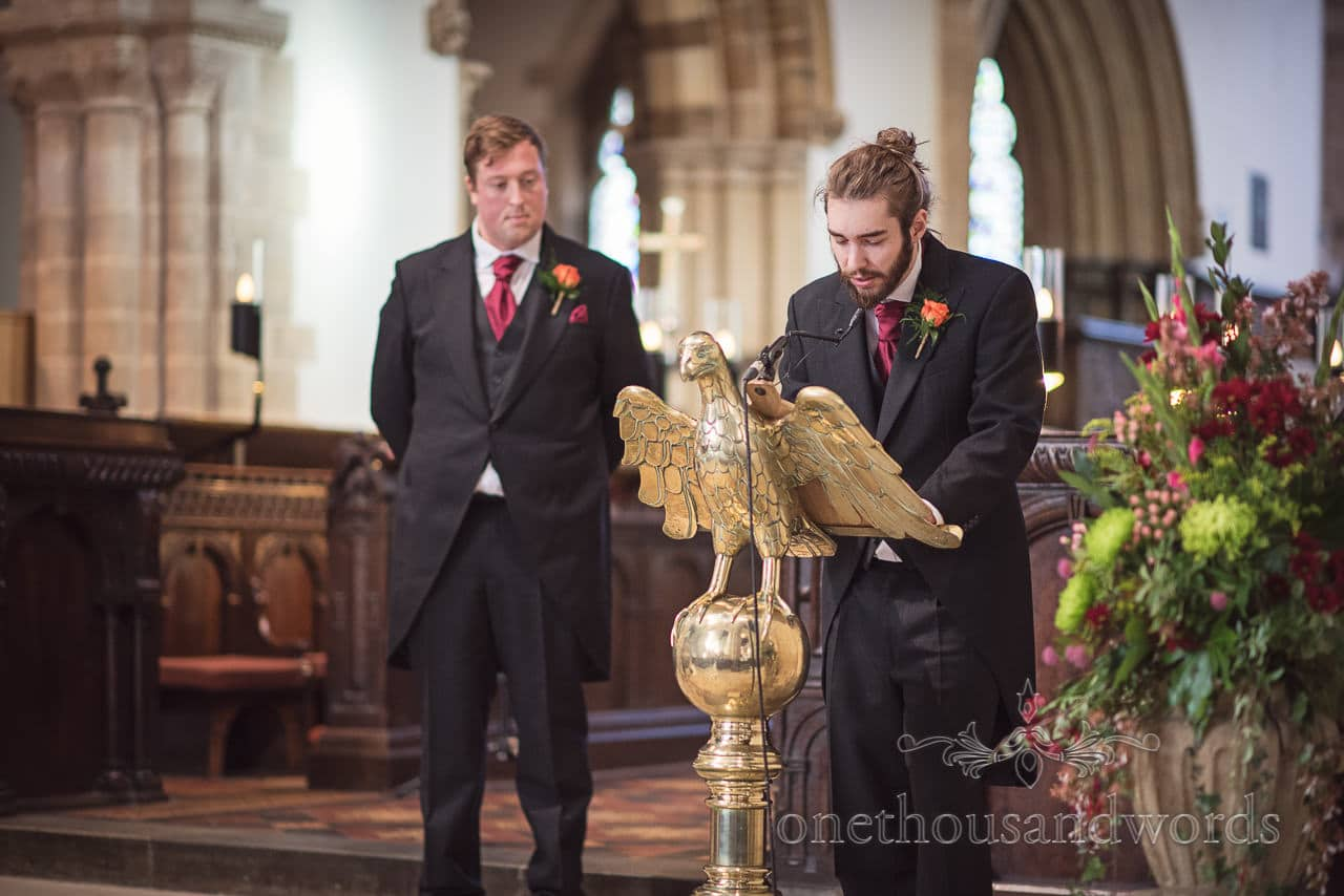 Grooms man's wedding reading in Wimborne Minster wedding ceremony