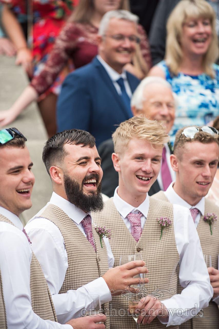 Groomsmen during group photo at the Italian Villa wedding