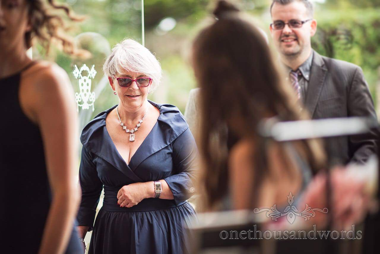 Guests come in from the garden at Italian Villa wedding