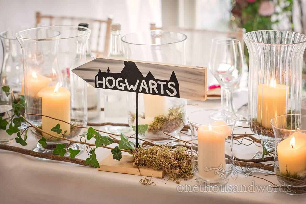 Harry potter theme table sign at Italian Villa wedding