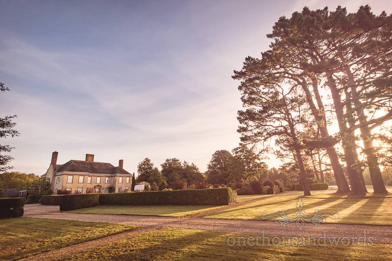 Hethfelton House stately home Wedding venue in Dorset sunrise