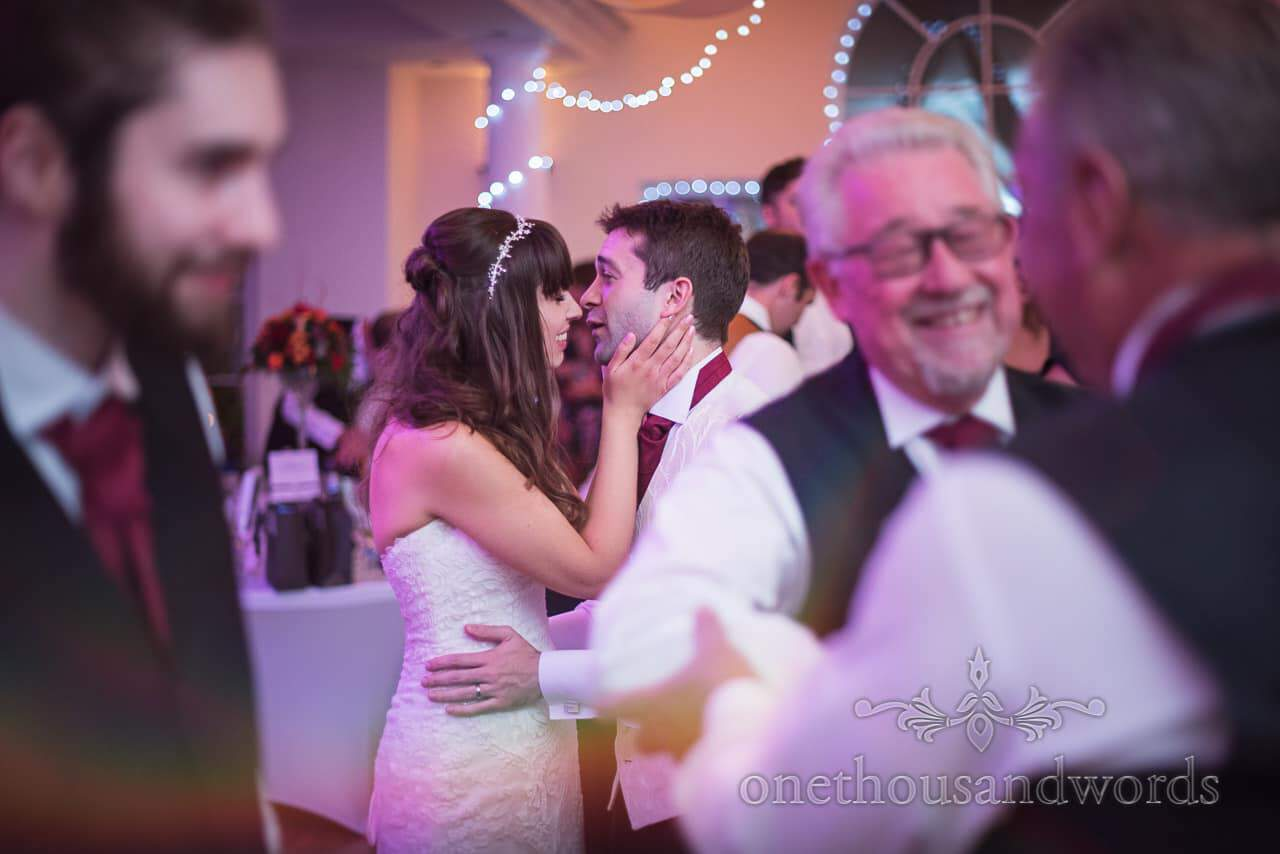 Hethfelton House Wedding Photographs of bride and groom dancing
