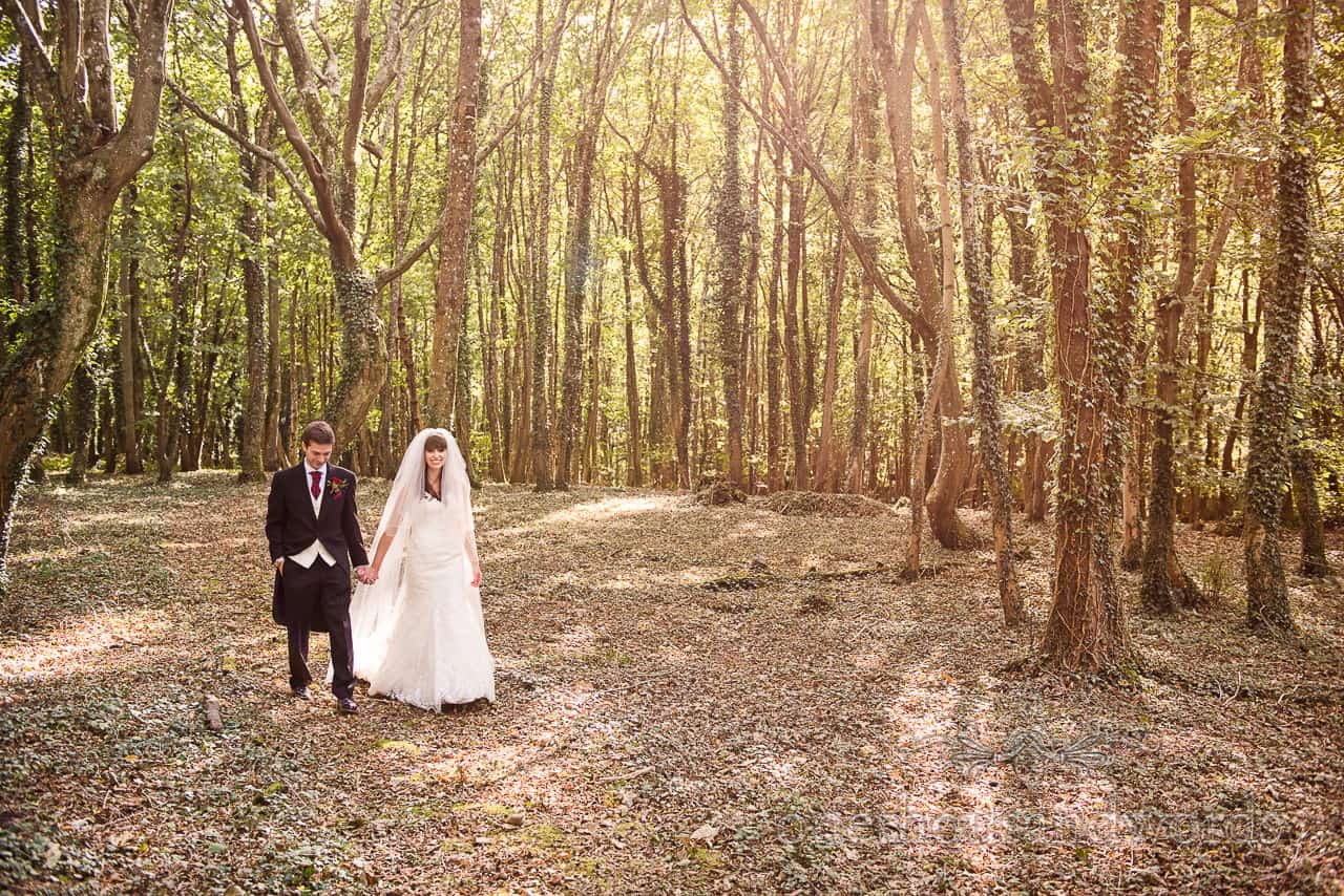 Hethfelton House Wedding Photographs of bride and groom in woods