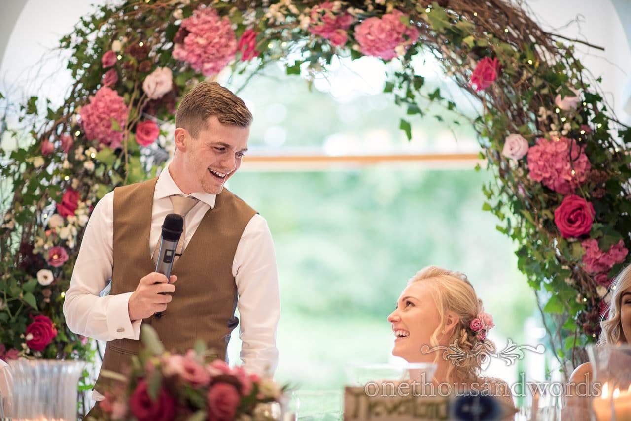 Italian Villa documentary wedding photos during grooms speech