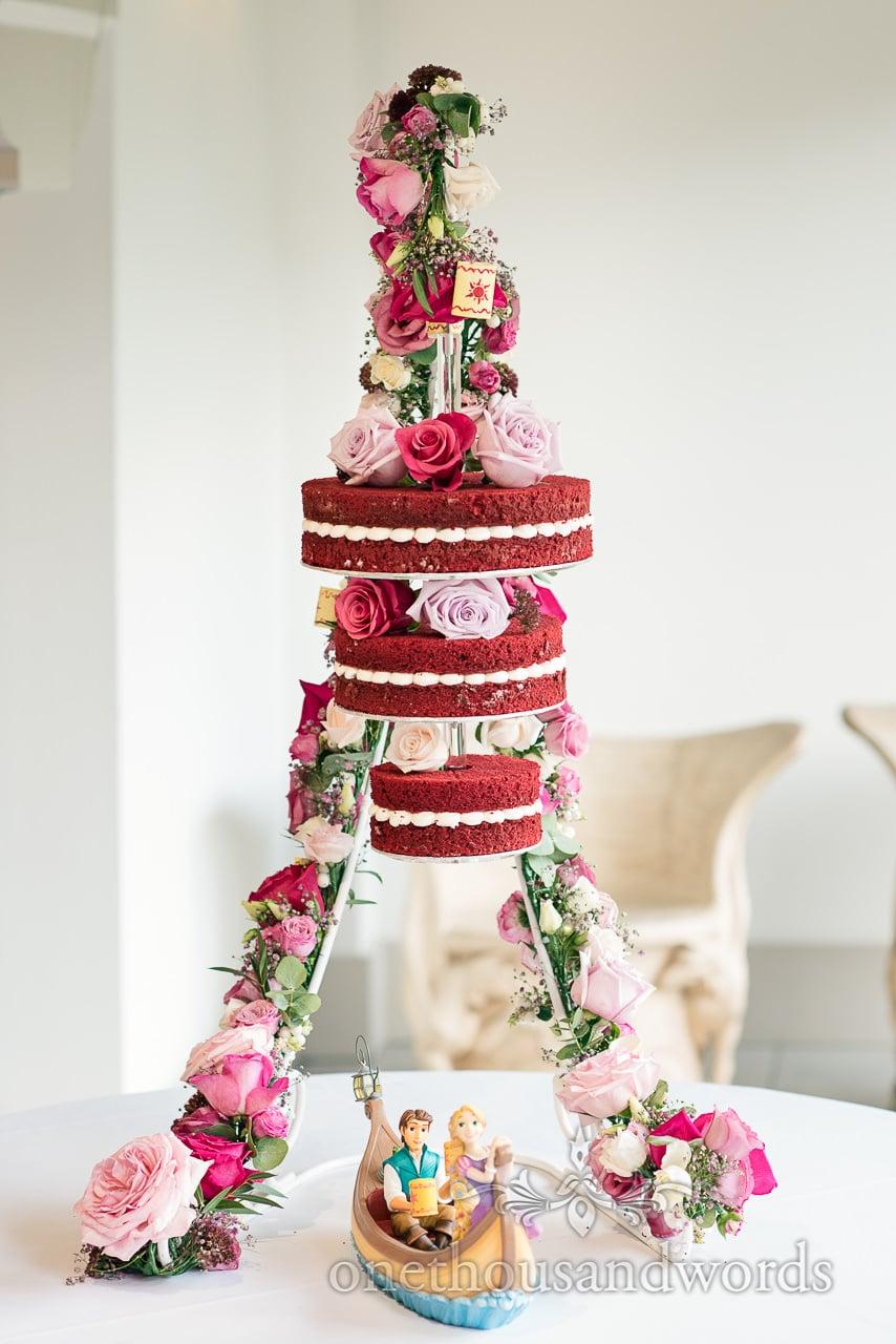 Italian Villa documentary wedding photos of amazing hanging red velvet cake