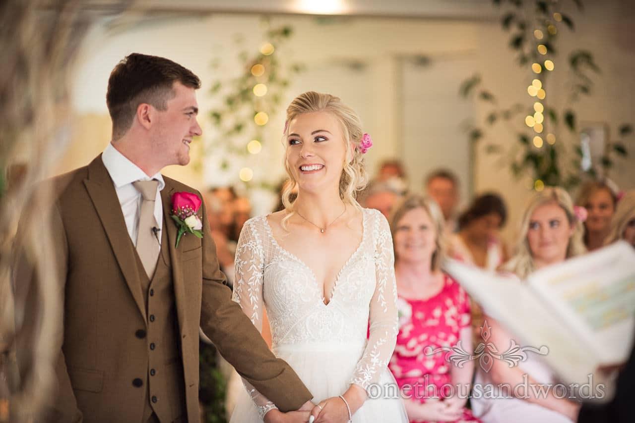 Italian Villa documentary wedding photos of bride and groom during civil ceremony