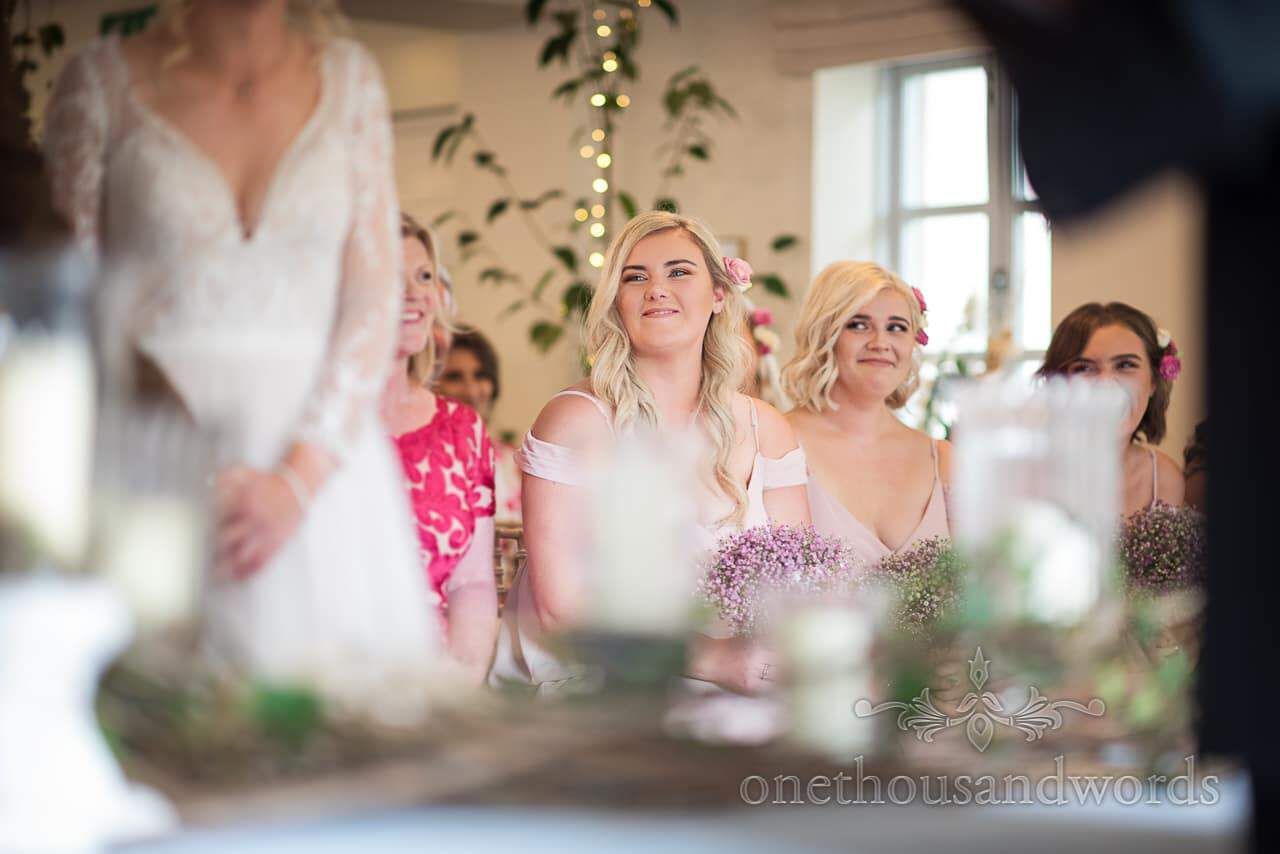 Italian Villa documentary wedding photos of bridesmaids during ceremony
