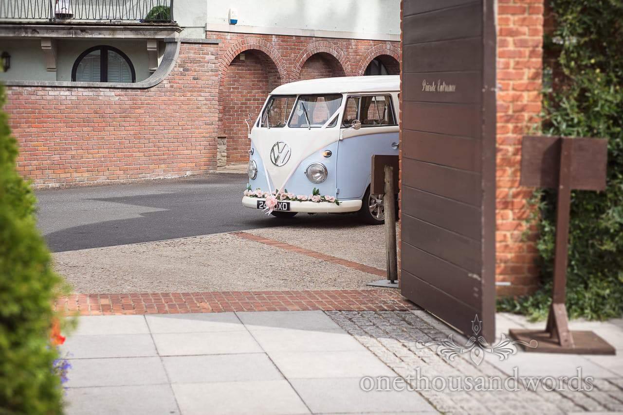 Italian Villa Documentary Wedding Photos of classic split screen VW camper van arriving