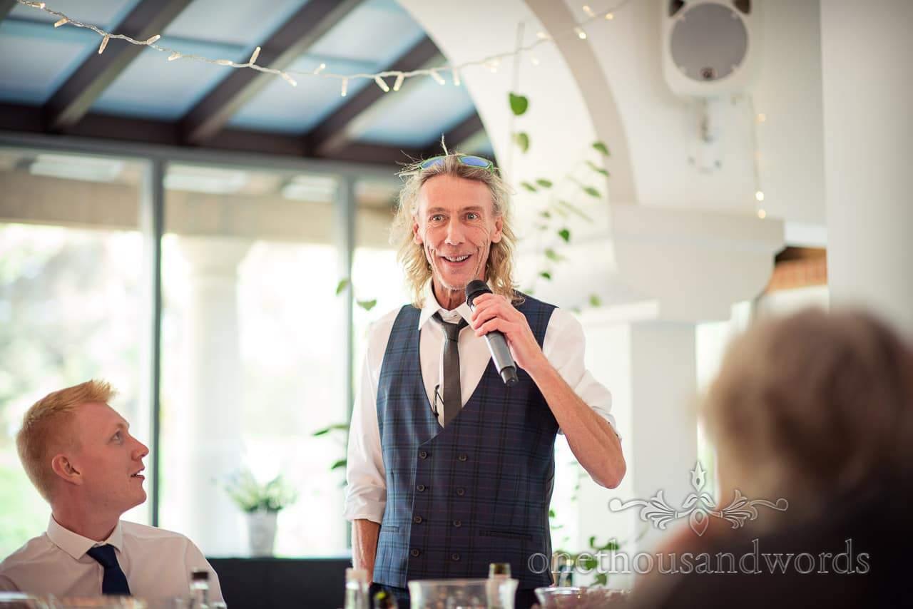 Italian Villa documentary wedding photos of father of the bride speech