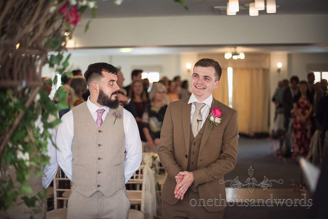 Italian Villa documentary wedding photos of groom waiting for his bride