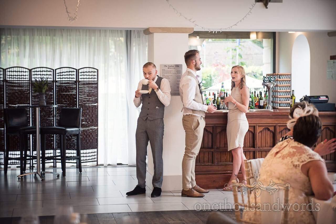Italian Villa documentary wedding photos of guests during wedding breakfast